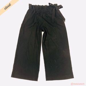 [Zara] Black Paper Bag Waist Wide Leg Crop Pants